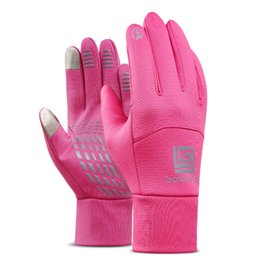 Wholesale Active Brush - Winter sports gloves touch screen warm cycling brushed gloves black and pink Couples gloves