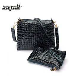 Wholesale Wholesale Quilted Leather - Wholesale-2015 Women Messenger Shoulder Bag Crocodile PU Leather Casual Crossbody Quilted Bags Set Women Clutch Composite Handbags