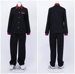 Wholesale Anime School Uniform - Kuroko No Basketball (Kuroko's Basketball) Aomine Daiki black long sleeve jersey Touou High School uniform cosplay