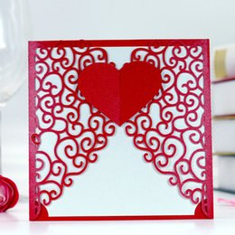 Wholesale Heart Shape Invitation - Red wed invitation heart shape flower invitation card valentine's day greeting card party invite's free ship