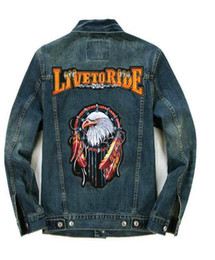 Wholesale Eagle Embroidered Patches - LIVE TO RIDE Eagle Patches Design Blue Denim Jean Classic Biker Jacket Embroidered Lapel Men's Motorcycle Jackets Coat M-3XL