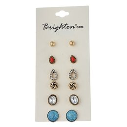 Wholesale Bulk Fine Jewelry - 6 Pair  Lot New Fashion Classic Style Bead Crystal Stud Earrings Set For Women Fine Jewelry Bulk Wholesale Price