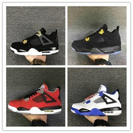 Wholesale Blue 4s - Drop shipping High Quality Retro 4 Basketball Shoes Men Women 4s Pure Money Royalty White Cement Bred Military Blue Sports Sneakers