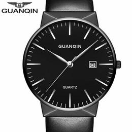 Wholesale Guanqin Watches - 2017 GUANQIN Men Watches Top Brand Luxury Fashion Ultra Thin Leather Strap Quartz Watch Simple Men Wristwatch relogio masculino