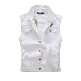 Wholesale Ripped Vest Top - Wholesale- 2016 New Brand Vest Men Denim Vest Vintage Sleeveless Washed Jeans Waistcoat Man Cowboy Ripped Jacket Plus Size Tank Top, DA177