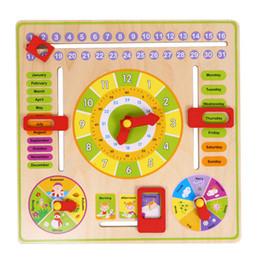 calendários dos desenhos animados Desconto 1 Pc Multifuncional Cartoon Relógio de madeira Toy Cognitive Calendário Temporada Data Crianças Brinquedo Educativo Early Learning Puzzle Brinquedos