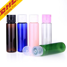 Wholesale Essential Oil Packaging - DHL FREE 30ml Mini Plastic Cosmetic Empty Bottle with Flip Cap Essential Oil Cream Sample Packaging Container Bottles