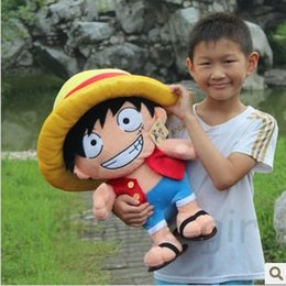 Wholesale Luffy Soft Toy - Wholesale-Cheap,anime figure kawaii toys for kids children's day ONE PIECE luffy plush soft toy doll for baby boy birthday gift