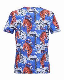 Wholesale Tiger Printed - 2017 Fashion Men's Casual Cotton tiger print short sleeve T Shirts Slim male t shirt asian size