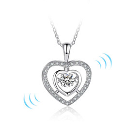 Wholesale Cubic Stone Jewellery - fashion dancing diamond jewellery necklaces 925 sterling silver dance necklace pendent damcing cz stone love necklace