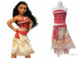 Wholesale Europeans Summer Dresses - 2017 Summer Sleeveless Dress Moana Cosplay Costume Polynesia Carnival Halloween Easter Mother&kids Princess Girl beach Dress