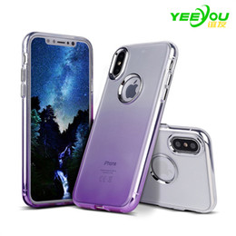 Wholesale Clear Cell Iphone Cases - Case For iphone X Gradient Color TPU Silicone Transparent Environmental protection PP material Luxury Protector Cover Apple Cell Phone Cases