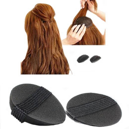 Wholesale Bump Hair - Wholesale- Black 2pcs 1 Set Woman Beauty Volume Hair Base Bump Styling Insert Pad Tool Convenient Hair Styling Clip Tool For Makeup Beauty