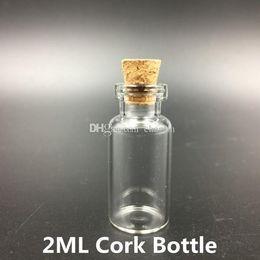Wholesale Miniature Glass Jars - 2ML Clear Glass Bottle With Cork Miniature Glass Bottle Vial with Cork Empty Sample Jars Small 35x16mm
