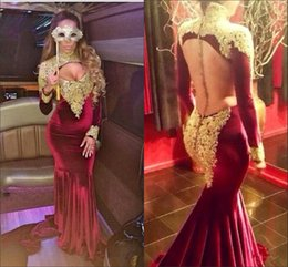 Wholesale Gothic Evening Dress Black - 2017 Sexy Velvet Gold Applique Long Sleeve Elegant Burgundy Gothic Prom Dresses Mermaid Robe De Soiree Zipper-Up Court Train Evening Gowns