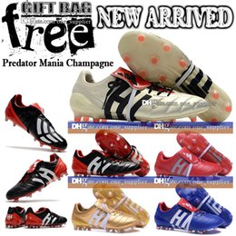 Wholesale Ties Sale Cheap - Cheap Sale Top Quality Men Football Boots Predator Mania Champagne FG Soccer Shoes Leather Soccer Cleats Boots Football Cleats With Bag