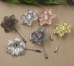 Wholesale Back Up Plate - 07674 50*40MM Antique metal silver Pink Flower Suit Lapel pin men badge, women vintage floral lapel pin brooch backs base, scraf pin up girl