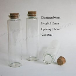 Wholesale Cork Lids - 20 x 55ml empty glass bottle with cork ,50cc cork stoppers bottle vials display glass container with cork lid