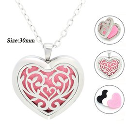 Wholesale Pendant Flower Life - 30mm silver magnetic Life of Flower perfume locket oil diffuser necklace with crystals 316 stainless steel heart shape pendant