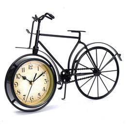 Wholesale Vintage Metal Tables - Wholesale-New Iron+Glass Retro Vintage Classic Old Bicycle Clock Table Clock Gift Home Decor Metal 360x100x250mm