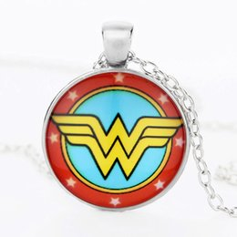 Wholesale Wonder Woman Wholesale - Wonder Woman Necklace Crystal Glass Cabochon Necklace Pendants with Silver Bronze Chain Fashion Super Heroes Jewelry for Women Kids