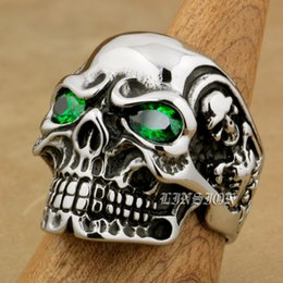 Wholesale Green Clusters - LINSION Huge Heavy 316L Stainless Steel Green CZ Eyes Titan Skull Mens Boys Biker Rock Punk Ring 3A301