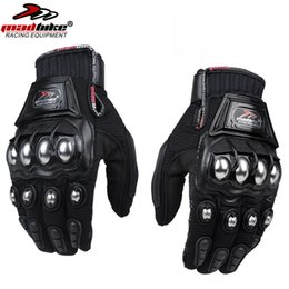 Wholesale Bike Fabric - Wholesale- Mad Bike Outdoor Sport Full Finger Knight Riding Motorbike Motorcycle Gloves Racing Breathable Mesh Fabric Men Women Steel Glove