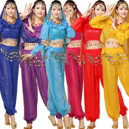 Wholesale Bellydance Dresses - 4pcs Set Sexy Egypt Belly Dance Costume Bollywood Costume Indian Dress Bellydance Dress Womens Belly Dancing Costume Sets