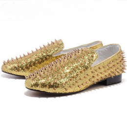 Wholesale Low Heel Gold Glitter Shoes - Size:35-46 Men's Red Bottom Gold Glitter Leather Slip-On Low Top Gold Spikes Fashion Designer Brand Loafers Flat Dress Shoes