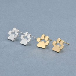 Wholesale Statement Stud Earrings - Cute Cat and Dog Pow Stud Earrings Ear Jewelry Earrings For Women Fashion Statement Jewelry Gifts Free shipping