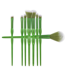 Wholesale Plastic Gourds - Hot sale the green handle 8pcs makeup brushes gourd shape makeup tools high quality free shipping dhgate vip seller