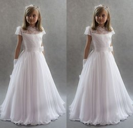 Wholesale Dres For Kids - Most Lovely Short Sleeve Cute Flower Girl Dresses for Wedding Vintage White Chiffon Lace Princess Lace-Up Kids Communion Dres