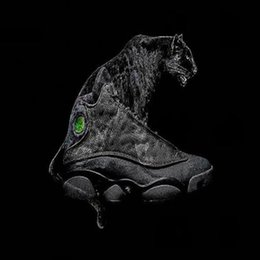 Wholesale Cats Women Shoes - (with box) AAA+ quality Air retro 13 black cat men women basketball shoes BLACK retro 13s Sports shoes Sneakers size 36-47