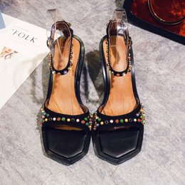 Wholesale Ethnic Sandals - Ethnic 2017 Suede Leather High Heels Sandals Strange Heels Fashion Lady Sandals Shoes Colorful Crystal Intersperse Shoes