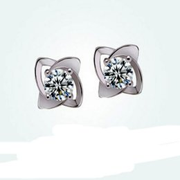 Wholesale Clover Diamond Earrings - 36Pcs Lot Brand New Romantic Exquisite Clover With White Diamond Stud Earrings Women 925 Sterling Silver Jewelry Party Fashion Earrings