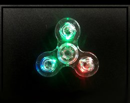 Wholesale Crystal Rotary Led - LED sipnner Bulb New Highlights Manual Rotary LED 4 real bearingBulb Fine-tune Triangle Finger Rotate Transparent Crystal Colorful Decompres