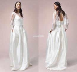 Wholesale French Lace Wedding Dresses - Bohemian French Lace Wedding Dresses With Open Back 2017 Sheer Neck 3 4 Sleeve Modern Bridal Dress Soft Satin Spaghetti Beach Wedding Gowns