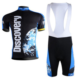 Wholesale Cycling Bib Short Pants - 2017 Quick Dry Team Discovery Cycling Short sleeve Jerseys bicycle Clothing Bike shirts +bib Pants set Sportswear Ropa Ciclismo E1902