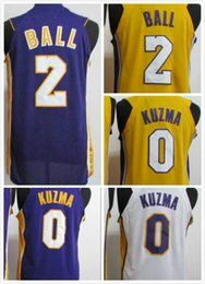 Wholesale Ball Jerseys - 2017-2018 new jerseys mens 2 Lonzo Ball 0 Kyle Kuzma Stitched Jersey Free Shipping whitepurple yellow wholesales