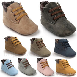 Wholesale Soft Leather Baby - Baby Shoes Toddler Prewalker Shoes Kids Fashion Soft Sole Moccasins Lace Up Shoe Children Cool PU Leather First Walker Shoes 12 Colors H622
