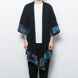 Wholesale Linen China - Wholesale- China style men's cotton linen trench jacket long kimono windbreaker coat male loose shawl cardigan coat
