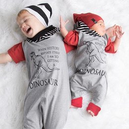 Wholesale Cartoon Animal Cotton Baby Rompers - 2017 Boys Baby Hooded Jumpsuits Cartoon Dinosaur Rompers Clothing Red Short Sleeve Cotton Toddler Romper Infant Onesies Boutique Clothes