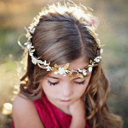 Wholesale Bow Left - European Style Children Hair Accessories Baby Golden Leaves Flower Headbands Kids Girls Hair Bands Baby Fashion Christmas Wreath Headwear