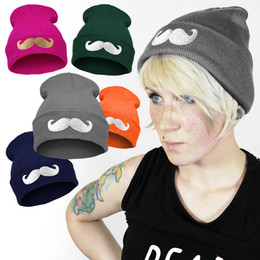 Wholesale Trendy Wholesale Embroidery - 5 4mg Big Beard Embroidery Pattern Knitted Hats Multicolor Trendy Beanies Slouchy Leisure Caps Outdoor Hats New Arrival Popuplar