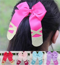 Wholesale Glitter Grosgrain - HOT SALE 5INCH Solid Handmade Grosgrain Ribbon HAIR BOW Glitter Headband With Boutique Alligator Clip Sweet Girl Headwear 10PCS