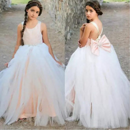 Wholesale Princess Peach Birthday - 2017 Pageant Peach Satin White Tulle Princess Flower Girl Dresses For Weddings Criss Cross Beaded Sash Bow Birthday Party Gown EN7229