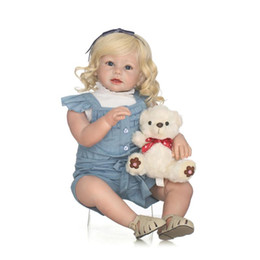 Wholesale Real Dolls Kids - 28inch 70cm Handmade Lifelike Reborn Toddler Baby Fashion Doll Real Touch Silicone Reborn Girl Blonde Hair Doll Kids Christmas Gift Children