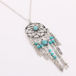 Wholesale Turquoise Necklaces Jewelry - Wholesale- Women Bohemia Tassels Feather Pendant Dreamcatcher Necklace Jewelry Dream Catcher Turquoise Beads Silver Long Sweater Chain