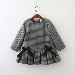 Wholesale Wholesale Baby Winter Clothing - Girls Plaid Dresses 2018 Baby Girls Long sleeve Bow Dress Babies Fashion Ruffles Dress Kids Winter Clothing
