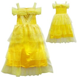 Wholesale Tulle Mid Wedding Dress - Beauty and the Beast Princess Dress Cosplay Wedding Girl Fairy Tulle Skirts Kids Yellow Summer Clothes